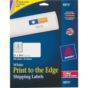 "Avery® 6873 Color Printing Matte White Laser Shipping Labels, 2"" x 3-3/4"", 200/Box"
