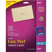 "Avery® 1"" X 2-5/8"" Inkjet Address Labels with Easy Peel®, Clear, 750/Box (8660)"