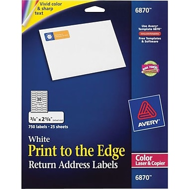 Avery 6870 Color Printing Matte White Laser Return Address Labels, 3/4in. X 2-1/4in., 750/Box
