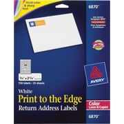 Avery® 6870 Color Printing Matte White Laser Return Address Labels, 3/4 X 2-1/4, 750/Box