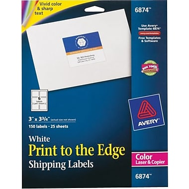 Avery® 6874 Color Printing Matte White Laser Shipping Labels, 3