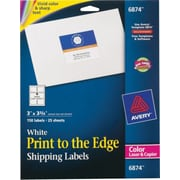 Avery® 6874 Color Printing Matte White Laser Shipping Labels, 3 X 3-3/4, 150/Box
