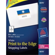 Avery® 6878 Color Printing Matte White Laser Shipping Labels, 3-3/4 X 4-3/4, 100/Box