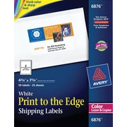 Avery® 6876 Color Printing Matte White Laser Shipping Labels, 4-3/4 x 7-3/4, 50/Box