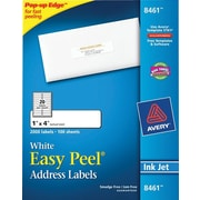 Avery® 8461 White Inkjet Address  Labels with Easy Peel®, 1 x 4, 2,000/Box