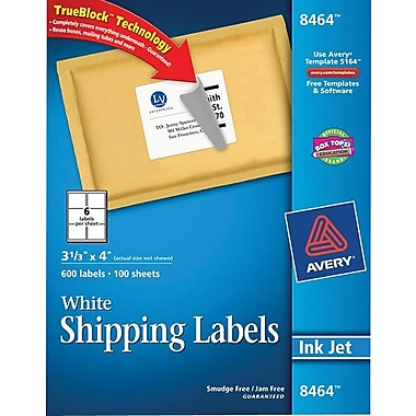 Avery® 8464 White Inkjet Shipping Labels with TrueBlock™, 3-1/3