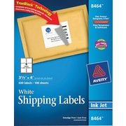 Avery® 8464 White Inkjet Shipping Labels with TrueBlock™, 3-1/3 x 4, 600/Box