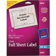 Avery 8665 Clear Inkjet Full Sheet Shipping Labels, 8-1/2in. X 11in., 25/Box