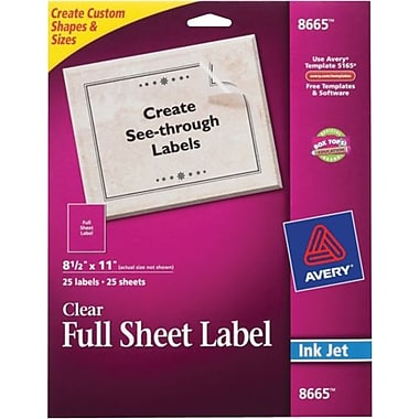 Avery 8665 clear inkjet full sheet shipping labels 8 1 2 for Staples white mailing labels template