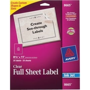 Avery® 8665 Clear Inkjet Full Sheet Shipping Labels, 8-1/2 X 11, 25/Box
