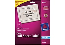 Avery® 8665 Clear Inkjet Full Sheet Shipping Labels, 8-1/2' X 11', 25/Box