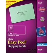 Avery® 8663 Clear Inkjet Shipping Labels with Easy Peel®, 2 X 4, 250/Box