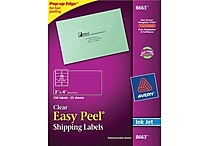 Avery® 8663 Clear Inkjet Shipping Labels with Easy Peel®, 2' X 4', 250/Box