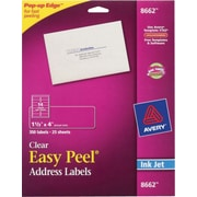 Avery® 8662 Clear Inkjet Address Labels with Easy Peel®, 1-1/3 X 4, 350/Box