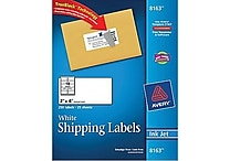 Avery® 8163 White Inkjet Shipping Labels with TrueBlock™, 2' x 4', 250/Box