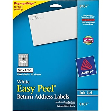 Avery 8167 White Inkjet Return Address Labels with Easy Peel®, 1/2in. x 1-3/4in.