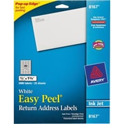 Avery® 8167 White Inkjet Return Address Labels with Easy Peel®, 1/2 x 1-3/4