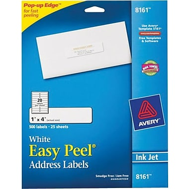 Avery 8161 White Inkjet Address Labels with Easy Peel®, 1in. x 4in., 500/Box