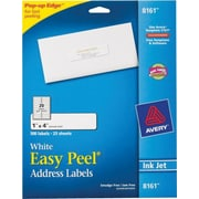 Avery® 8161 White Inkjet Address Labels with Easy Peel®, 1 x 4, 500/Box