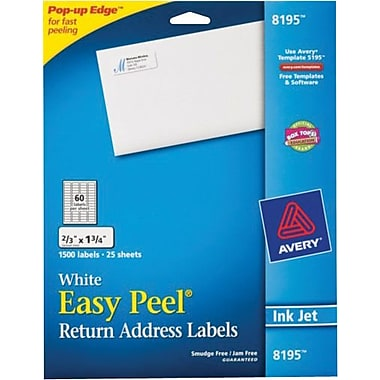Avery® 8195 White Inkjet Return Address Labels with Easy Peel®, 2/3in. x 1-3/4in.