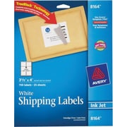 Avery® 8164 White Inkjet Shipping Labels with TrueBlock™, 3-1/3 x 4, 150/Box
