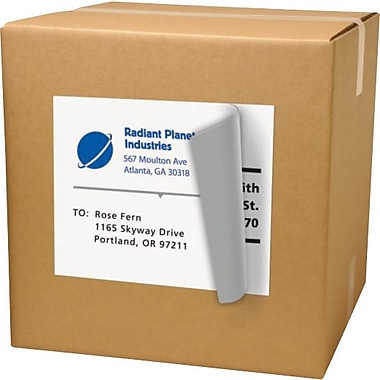 Avery 8165 White Inkjet Full Sheet Shipping Labels with TrueBlock™, 8-1/2in. x 11in., 25/Box