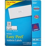 "Avery 1"" x 2-5/8"" Inkjet Address Labels with Easy Peel, White, 3,000/Box (8460)"
