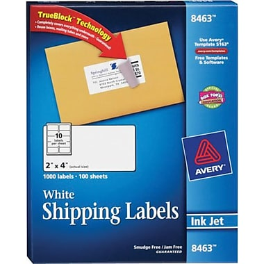 Avery 8463 White Inkjet Shipping Labels with TrueBlock™, 2in. x 4in., 1,000/Box