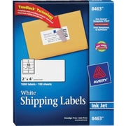 Avery® 8463 White Inkjet Shipping Labels with TrueBlock™, 2 x 4, 1,000/Box