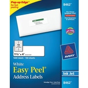 Avery® 8462 White Inkjet Address Labels with Easy Peel®, 1-1/3 x 4, 1,400/Box