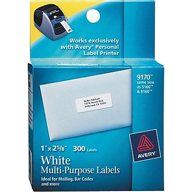 Avery® 9170 Personal Label Printer Address Labels, 1in. x 2-5/8in.