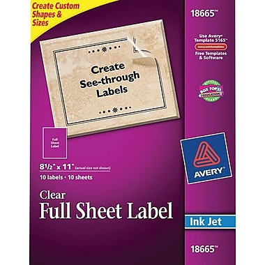 Avery 18665 Clear Inkjet Full Sheet Shipping Labels, 8-1/2in. X 11in., 10/Box