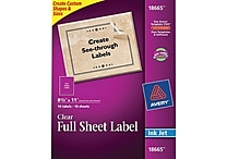 Avery® 18665 Clear Inkjet Full Sheet Shipping Labels, 8-1/2' X 11', 10/Box