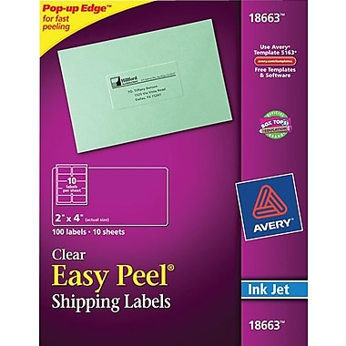 Avery 18663 Clear Inkjet Shipping Labels with Easy Peel, 2in. X 4in., 100/Box