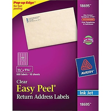 Avery® 18695 Clear Inkjet Return Address Labels with Easy Peel®, 2/3in. X 1-3/4in., 600/Box