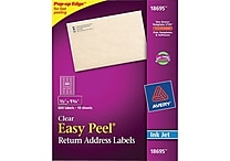 Avery® 18695 Clear Inkjet Return Address Labels with Easy Peel®, 2/3' X 1-3/4', 600/Box