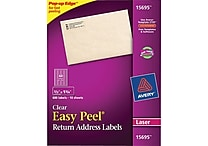 Avery® 15695 Clear Laser Return Address Labels with Easy Peel®, 2/3' X 1-3/4', 600/Box