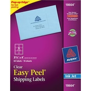 Avery® 18664 Clear Inkjet Shipping Labels with Easy Peel®, 3-1/3 X 4, 60/Box