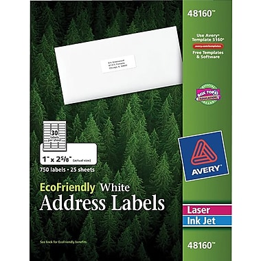 Avery® 48160 EcoFriendly White Inkjet/Laser Address Labels 1in. x 2-5/8in., 750/Box