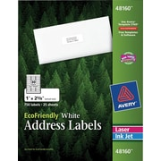 Avery® 48160 EcoFriendly White Inkjet/Laser Address Labels 1 x 2-5/8, 750/Box
