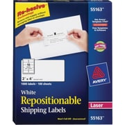 Avery® 55163 Repositionable, White Laser Shipping Labels 2 x 4, 1,000/Box