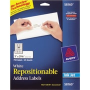 Avery® 58160 Repositionable White Inkjet Address Labels 1 x 2-5/8, 750/Box