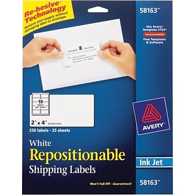 Avery® 58163 Repositionable White Inkjet Shipping Labels 2in. x  4in., 250/Box