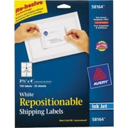 "Avery® 58164 Repositionable White Inkjet Shipping Labels 3-1/3"" x 4"", 150/Box"