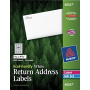 Avery® 48267 EcoFriendly White Inkjet/Laser Return Address Labels 1/2 x 1-3/4, 2,000/Box