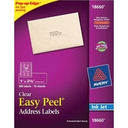 Avery® 18660 Clear Inkjet Address Labels with Easy Peel®, 1 X 2-5/8, 300/Box
