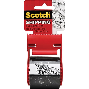 Scotch® Decorative Shipping Packing Tape, Black Butterflies, 1.88