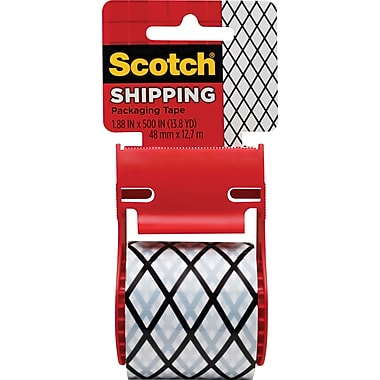 Scotch® Decorative Shipping Packaging Tape, Black/White Fishnet, 1.88in. x 13.8 Yd.