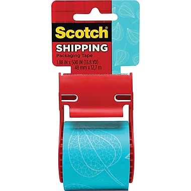 Scotch® Decorative Shipping Packing Tape, Blue Leaf, 1.88