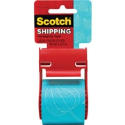 "Scotch® Decorative Shipping Packing Tape, Blue Leaf, 1.88"" x 13.8 Yd."